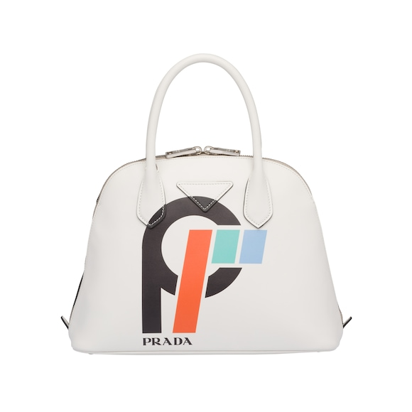 Leather bag with printed logo