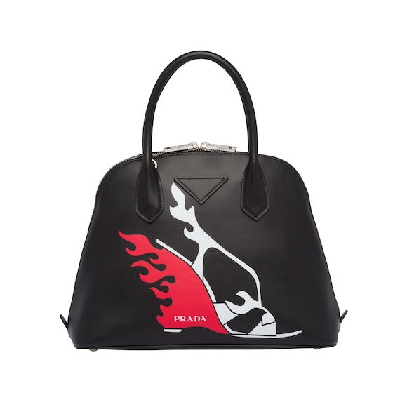 Printed leather bag with logo