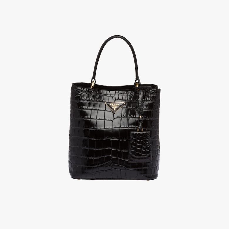 Sac Prada Double en cuir de crocodile