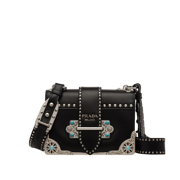Cahier studded calf leather bag