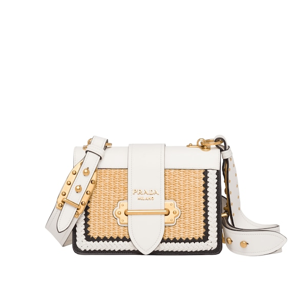 Prada Cahier straw and leather bag
