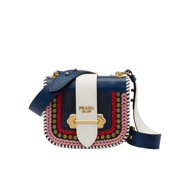 Prada Pionnière calf leather and denim bag