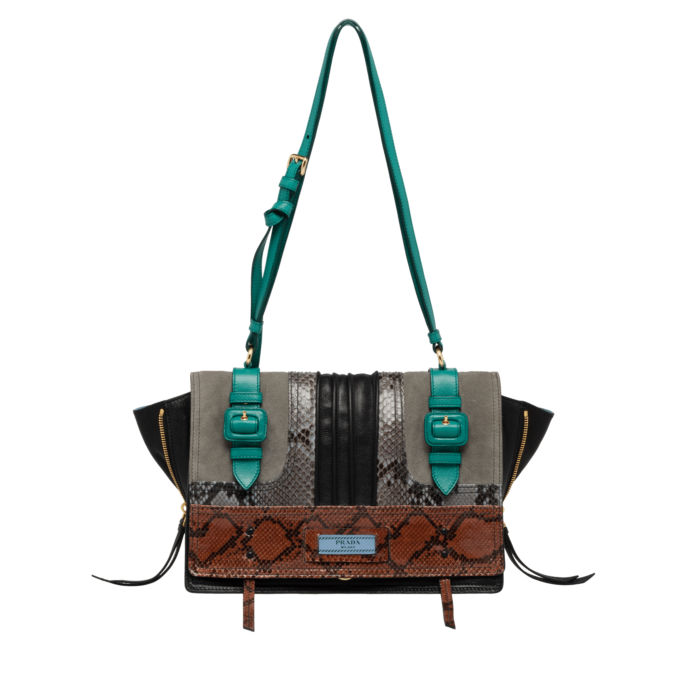 Etiquette Bag TOBACCO+PEACOCK BLUE Prada