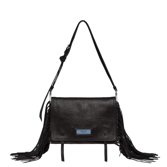 Etiquette calf leather bag