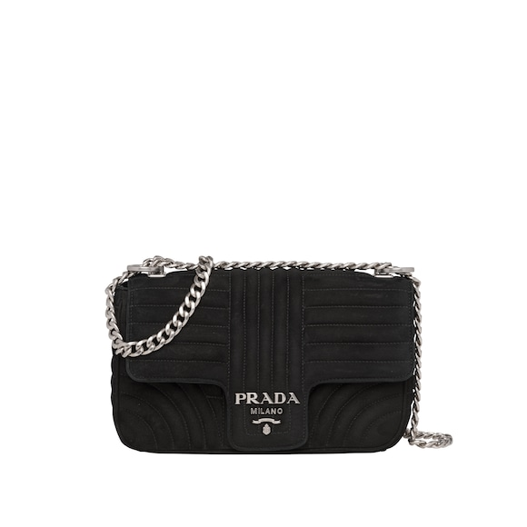 Prada Diagramme suede bag
