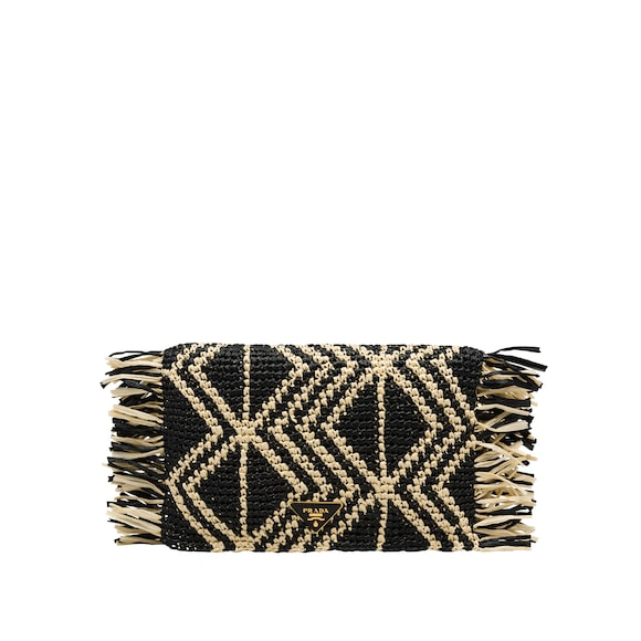 Raffia and nylon clutch