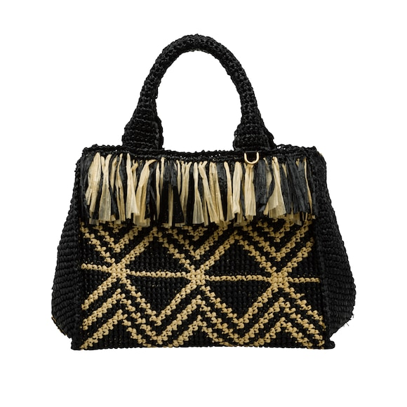 Raffia handbag with fringe