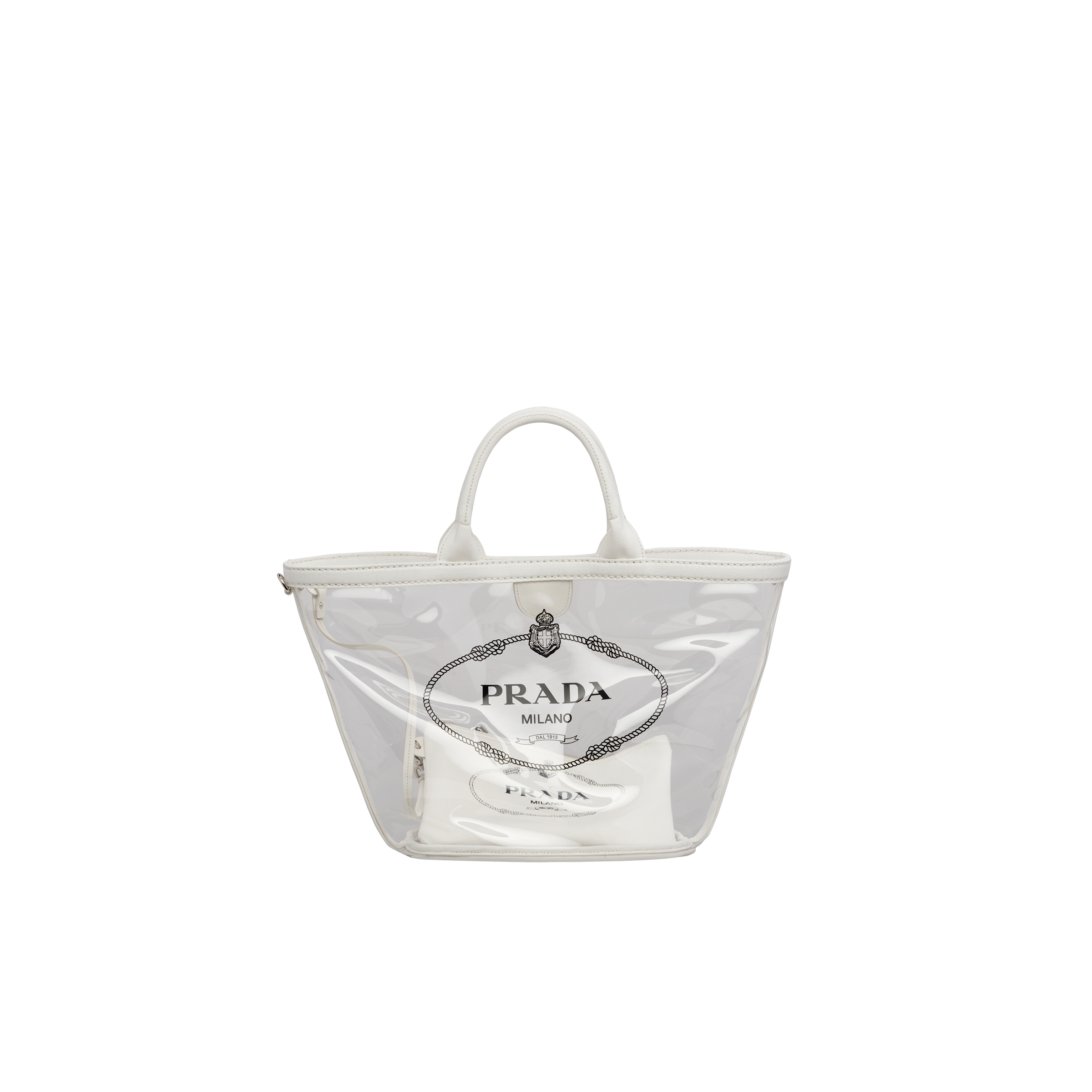 Fabric and Plexiglas handbag WHITE Prada