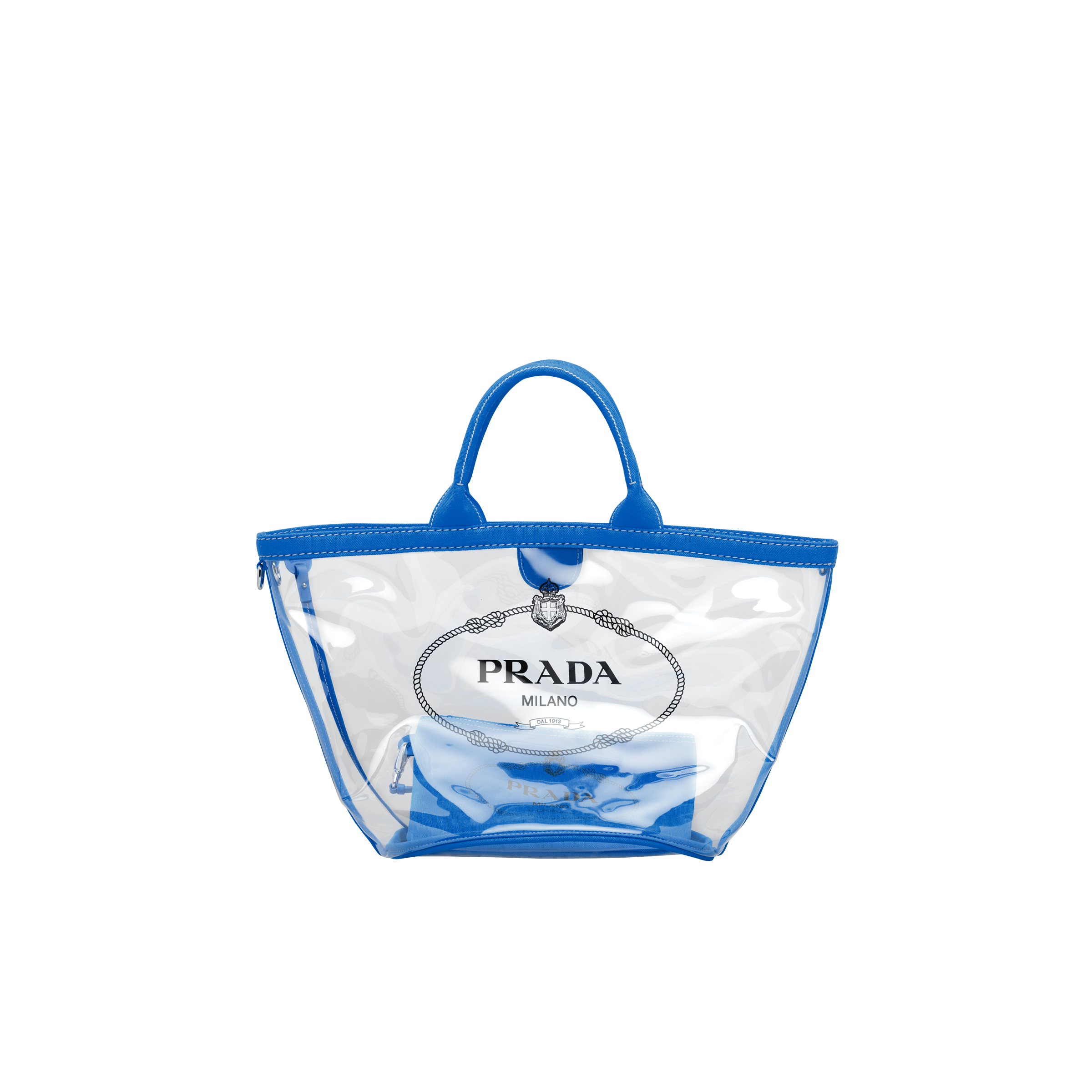 Fabric and Plexiglas handbag LIGHT BLUE Prada