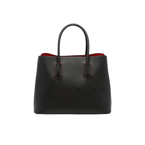 This Prada Double Tote Is Crafted In Saffiano Leather It Features A Handle Detachable Shoulder Strap And Colorful Na Lining