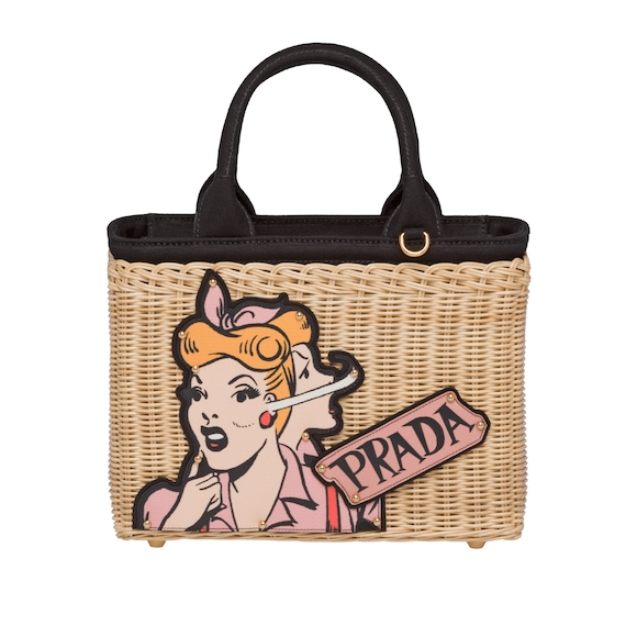 Wicker bag with patch