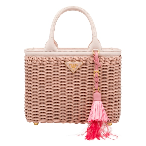 Wicker and hemp handbag