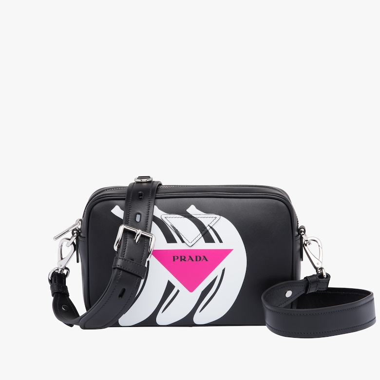 Logo print leather shoulder bag