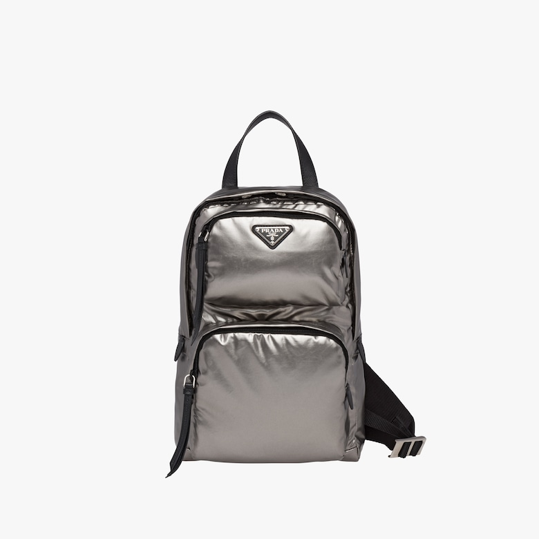 One-shoulder laminated fabric backpack