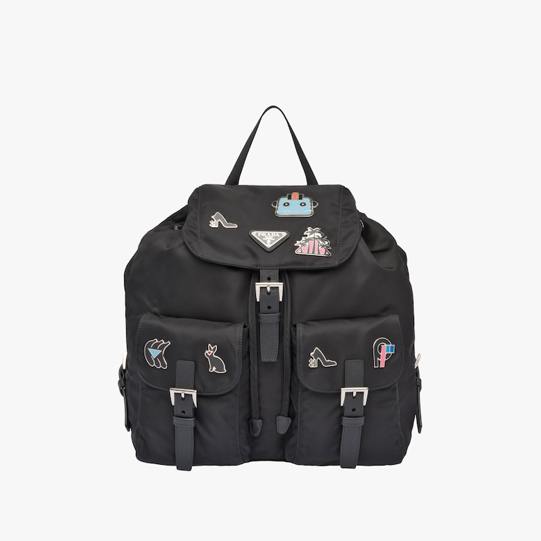 Logo fabric backpack