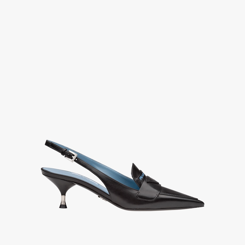 Leather loafer slingbacks