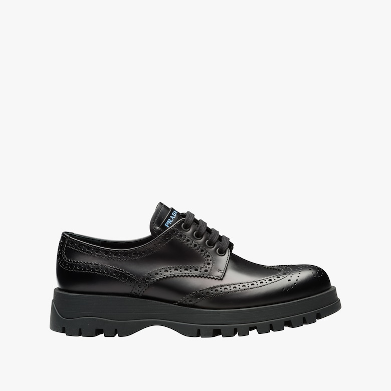 Leather derby shoes with rubber sole