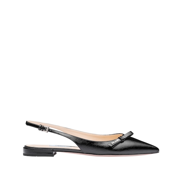 Patent leather ballerina slingbacks