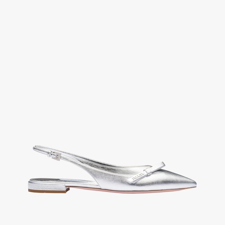 Metallic leather slingback ballerinas
