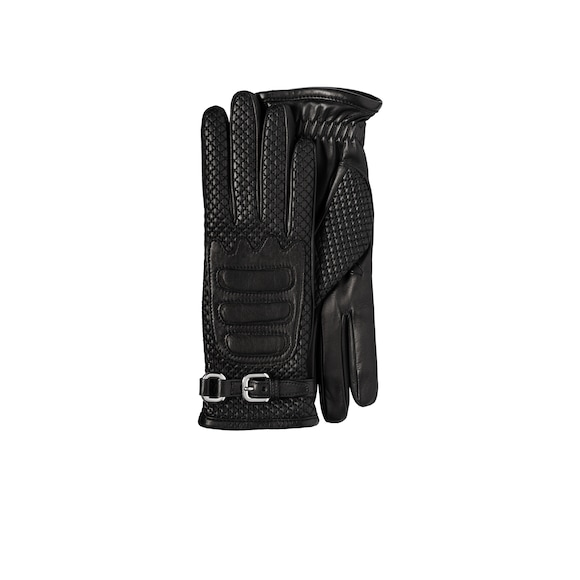Nappa leather and fabric gloves