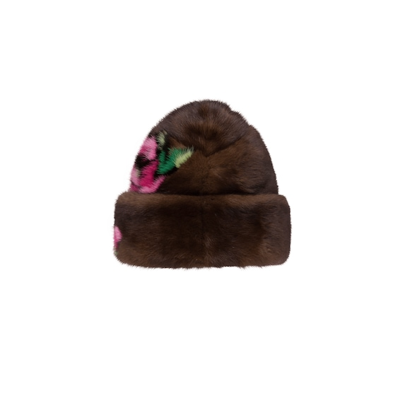 Mink hat with floral intarsia