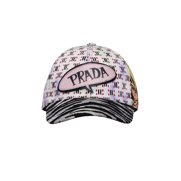 Printed denim baseball cap