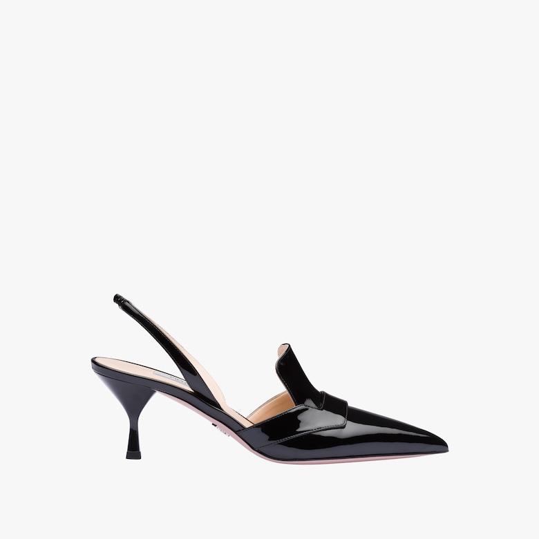 Patent leather pointy toe slingbacks