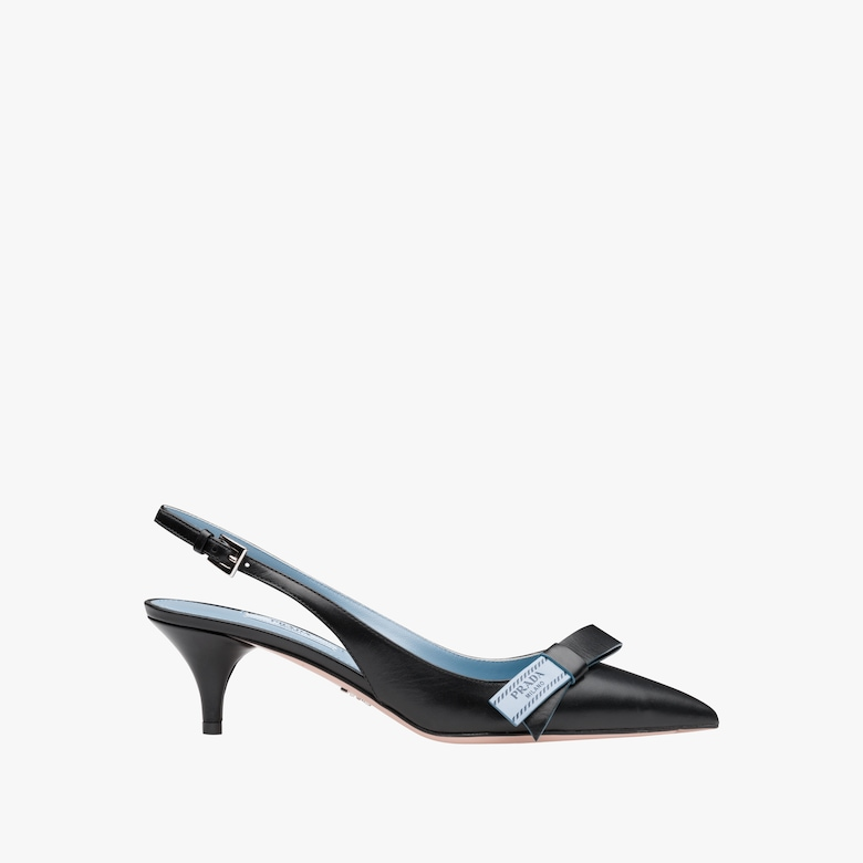 Leather slingbacks with bow