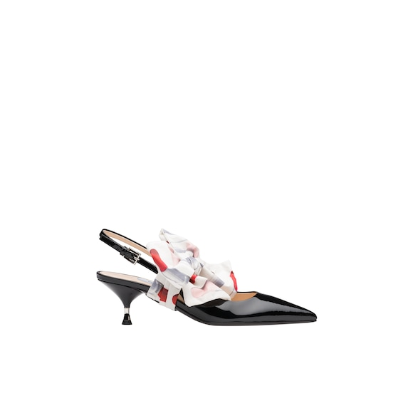 Patent leather slingbacks with bow