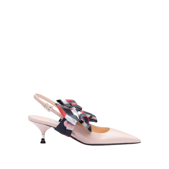Patent Leather Slingbacks With Bow by Prada