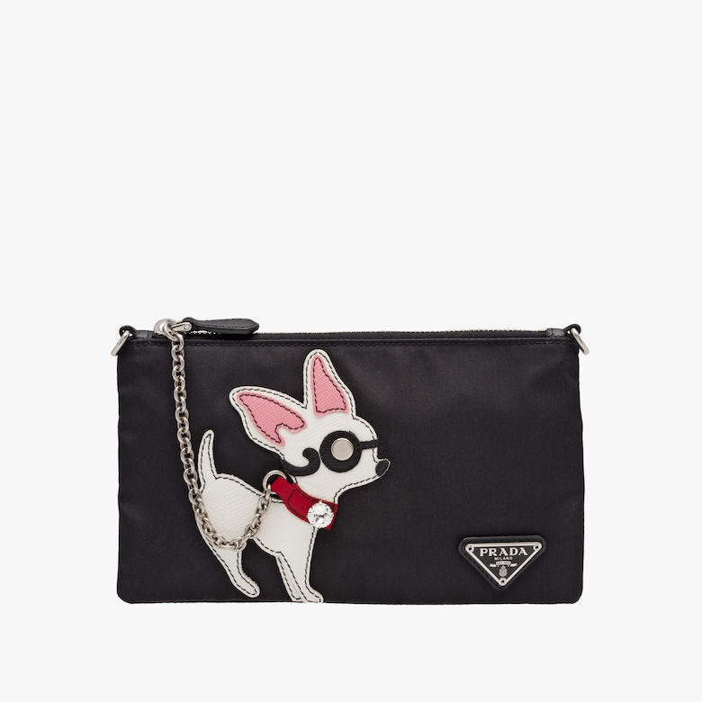 Fabric pouch with chihuahua