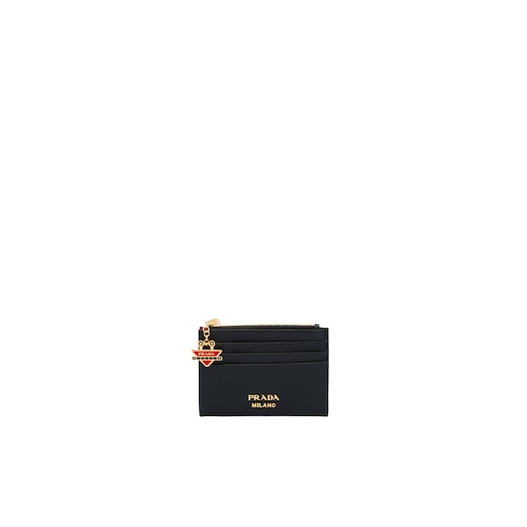 Saffiano card holder with robot charm