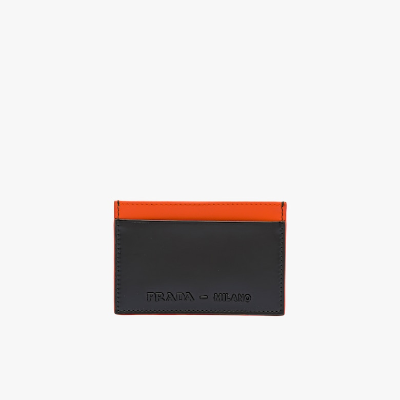 Brushed leather credit card holder