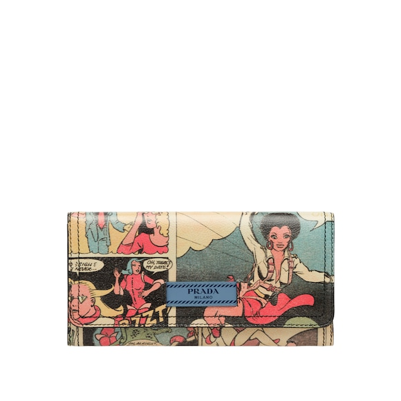 Comics print leather wallet