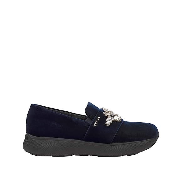 Verzierte Slip-on-Sneakers aus Samt