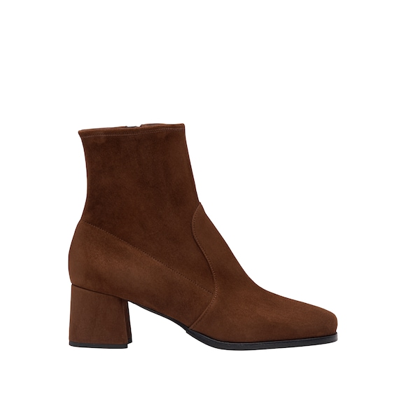 Bottines en veau velours stretch