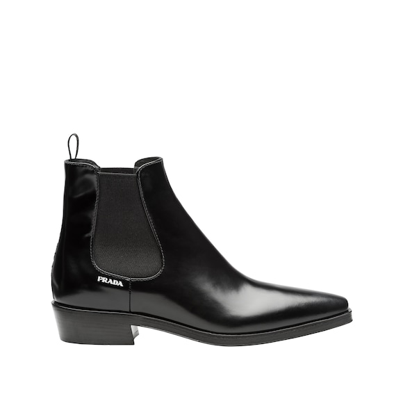 Brushed calf leather booties