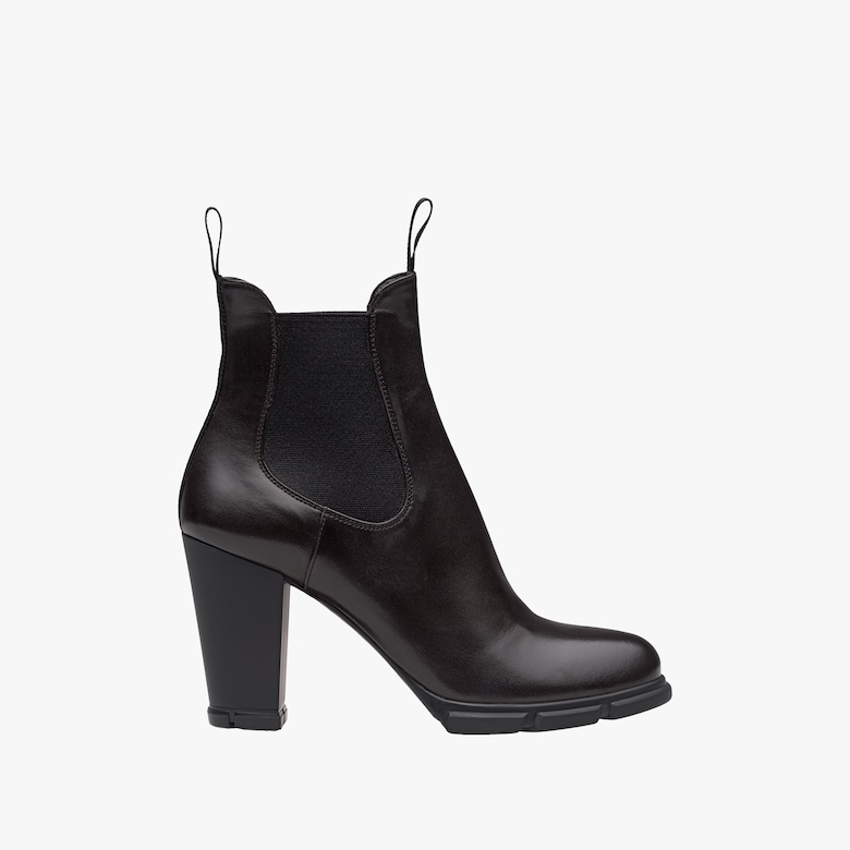 High-heeled nappa leather booties