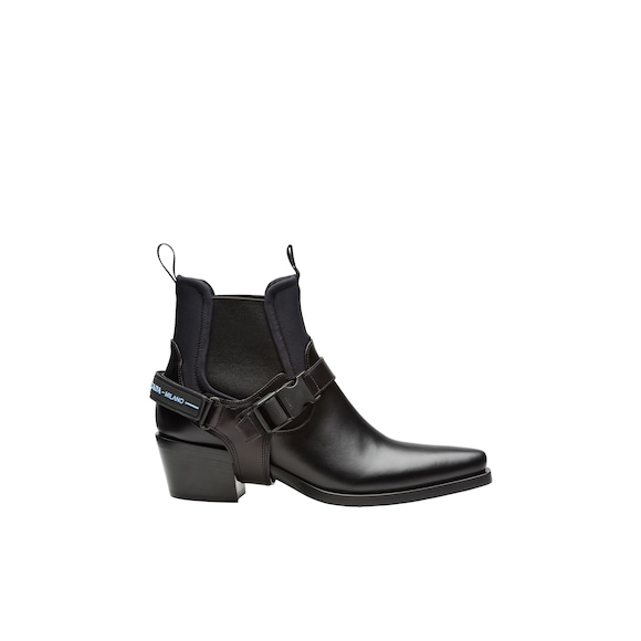 Leather and neoprene booties