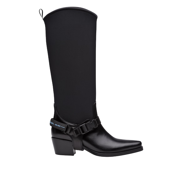 Leather and neoprene boots