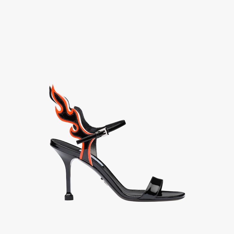 Patent leather sandals with flame appliqué