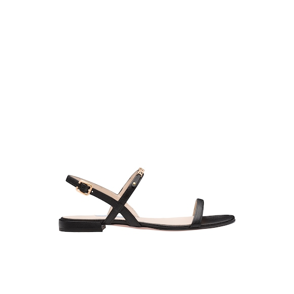 Leather sandals with lettering logo