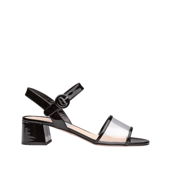 Plexiglas and patent leather sandals