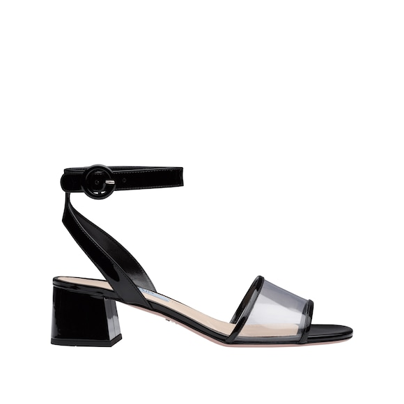 Patent leather and Plexiglas sandals