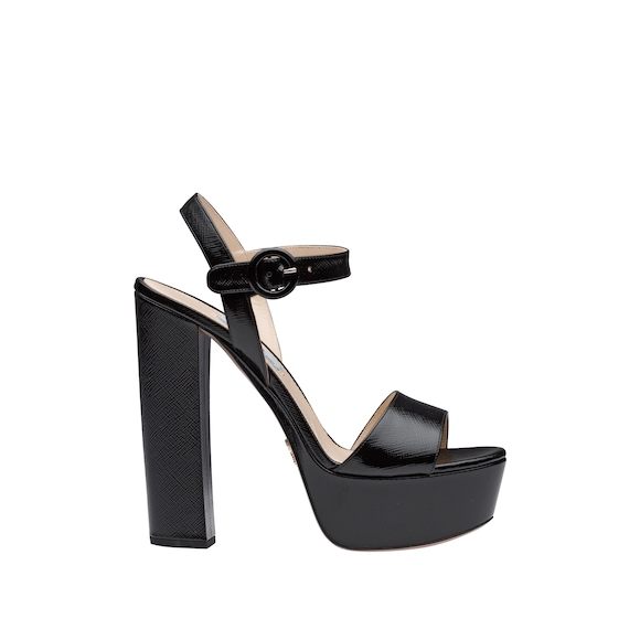Laminated Saffiano leather platform sandals