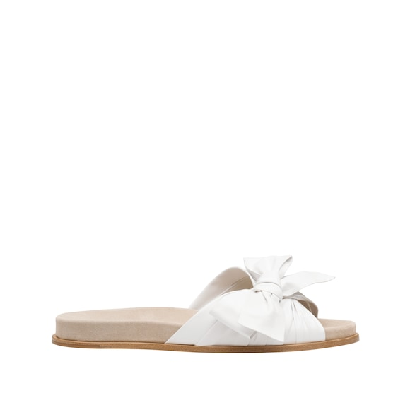 Nappa leather bow slides