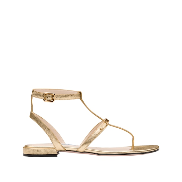 Saffiano leather thong sandals