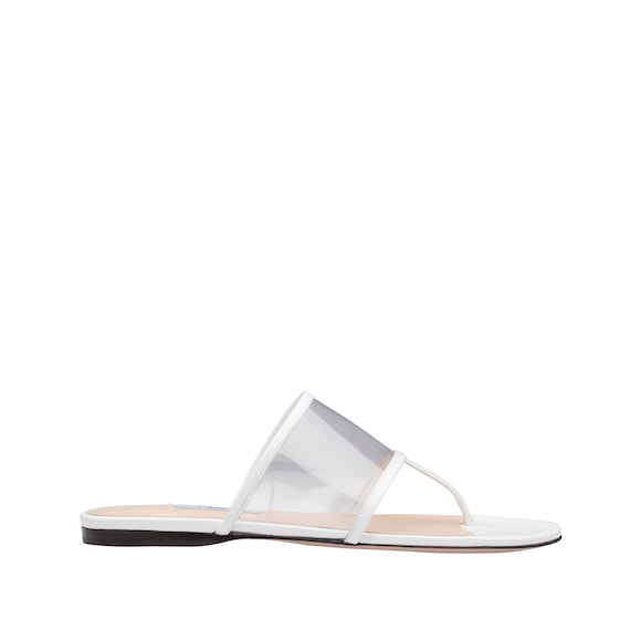 Plexiglas and patent leather thong sandals