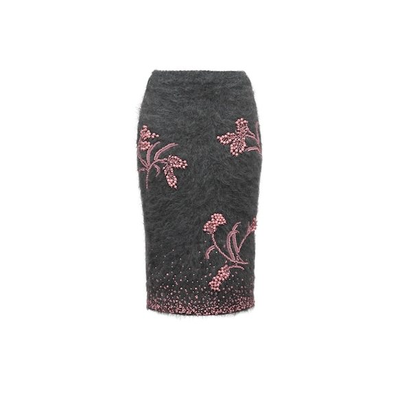 Embroidered knit skirt