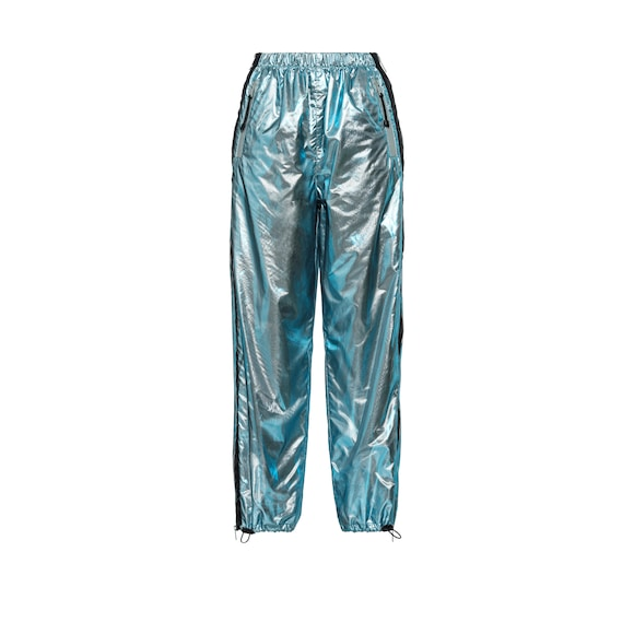 Irisé voile and silver ripstop trousers